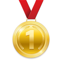 champion award gold medal for sport prize shiny vector image vector image