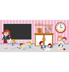 Children and teacher in classroom vector image