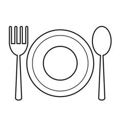 plate spoon fork utensils thin line vector image