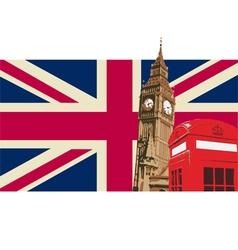 UK with Big Ben Flag vector image vector image