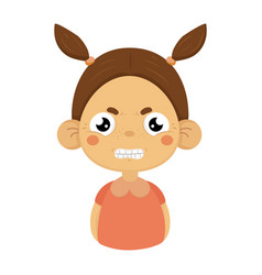 angry little girl clenching teeth flat cartoon vector image vector image
