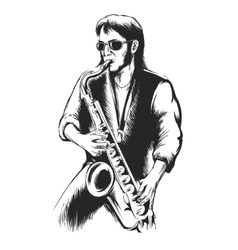 Saxophonist or saxophone player vector image vector image