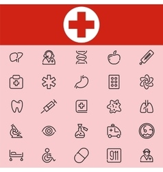 Set Of 25 Healthcare Line Icons vector image vector image