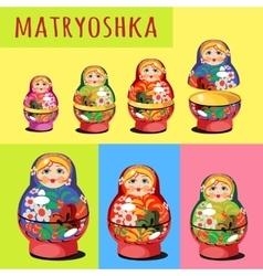 Set of matryoshka Russian folk toy vector image