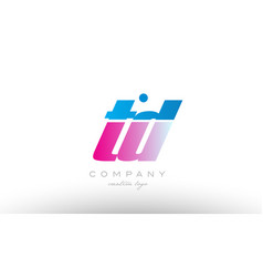 td t d alphabet letter combination pink blue bold vector image vector image