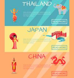 thai japan china web set and traditional signs vector image vector image
