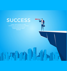 businessman stand on cliff edge mountain using vector image vector image