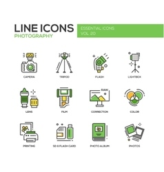 Photography line design icons set vector image vector image