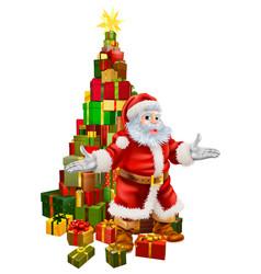 santa claus christmas tree gifts vector image vector image