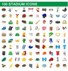 100 stadium icons set cartoon style vector