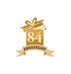 84 years gift box ribbon anniversary vector