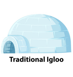 A traditional igloo on white background vector