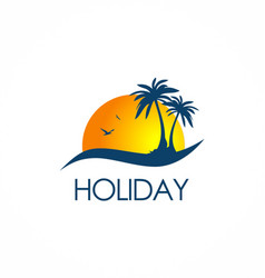 Beach holiday travel logo vector