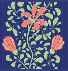 Beautiful indian floral style design with coral vector