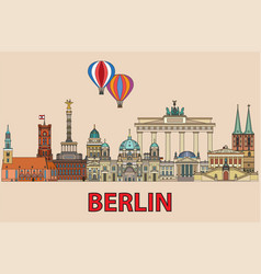 berlin colorful line art 2 vector image
