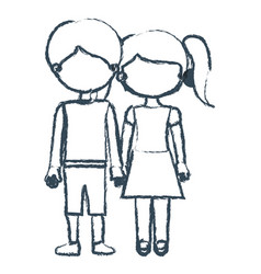 blurred blue contour faceless couple children with vector image