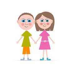 Boy and Girl Isolated on white Background vector image