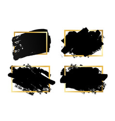 brush strokes set gold text box isolated white vector image
