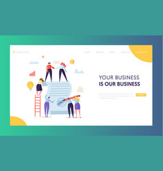 business character signing contract landing page vector image
