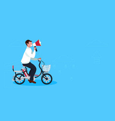 Businessman speaker cycling bicycle holding vector