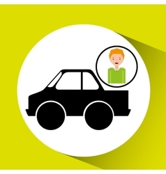 Cartoon boy icon pickup truck icon design vector