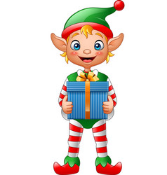 cartoon christmas elf holding gift box vector image