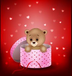 cartoon small bear in a gift box vector image