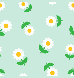 Chamomile flower icon seamless pattern background vector