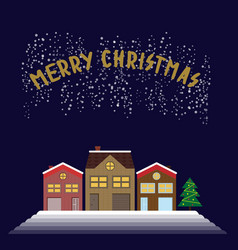 Christmas greeting picture with timbered houses vector