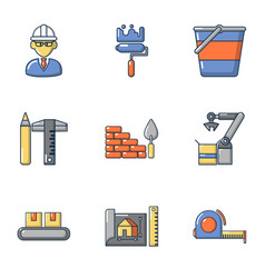 Civil engineering icons set cartoon style vector