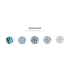 Color value icon in different style two colored vector