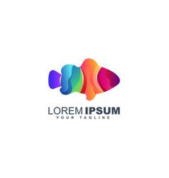 colorful fish logo design template vector image