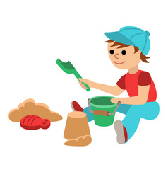 Cute little baby boy with playing in the sandbox vector