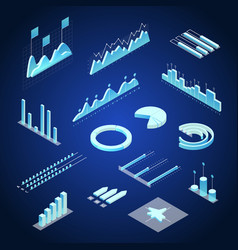 data financial graphs concept 3d isometric view vector image