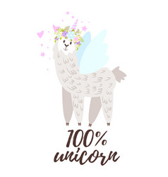 design for tshirt with alpaca vector image