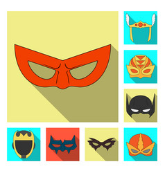 design of hero and mask icon set of hero vector image