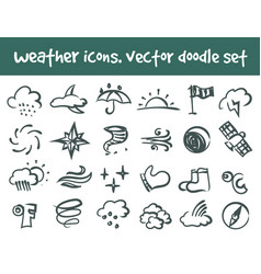 doodle weather icons set vector image