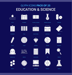 Education and science white icon over blue vector