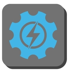 Electric power cog gear rounded square button vector