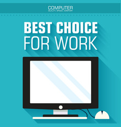 Flat computer on the background with the slogan vector