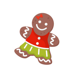 Flat icon of christmas gingerbread woman vector