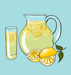 Flat lemonade composition vector