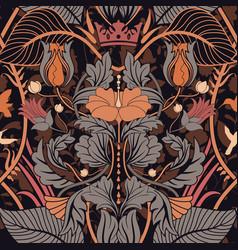 floral vintage seamless pattern retro plants vector image