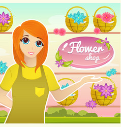 Flower shop with female florist character vector