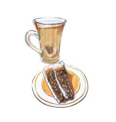 galao coffee devils food cake vector image