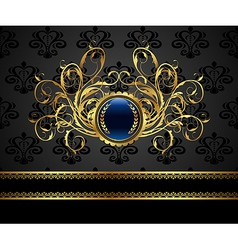 Gold vintage frame for design packing vector