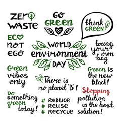 handwritten doodle ecological quotes world vector image