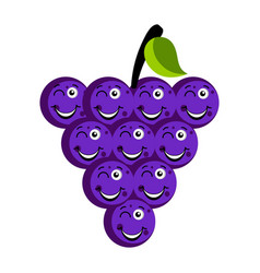 happy grapes emoticon vector image