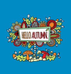 Hello Autumn Hand Drawn Doodle Blue vector