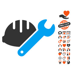 Helmet with wrench icon with valentine bonus vector